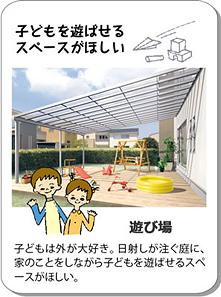 子どもを遊ばせるスペースがほしい 遊び場 子どもは外が大好き。日射しが注ぐ庭に、家のことをしながら子どもを遊ばせるスペースがほしい。